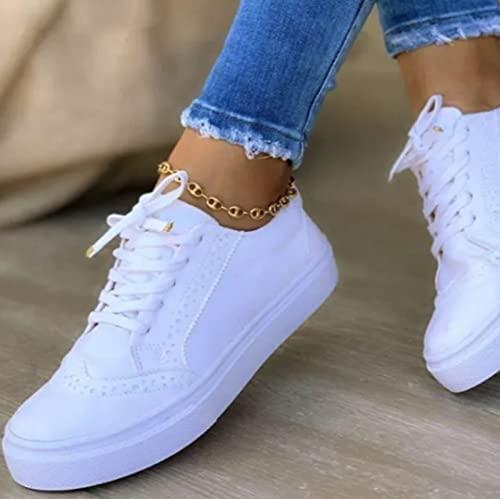 MTHDD Low-Cut Sneaker Canvas Flache Schuhe Frauen Beiläufige Schuhe Damen Sommer Herbst Turnschuhe,Weiß,37