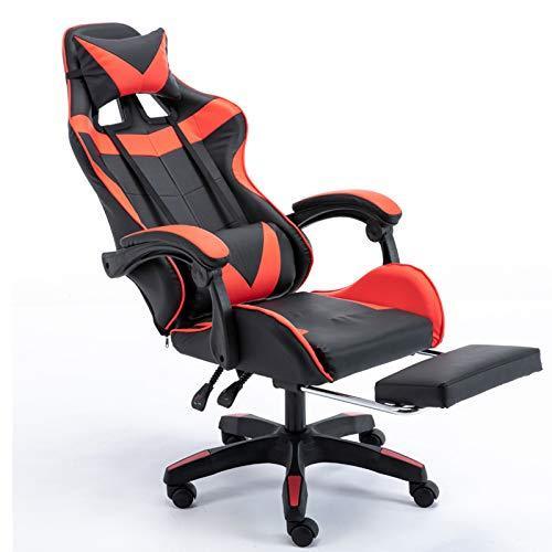 Silla de juego Silla de oficina Silla deportiva ergonómica adecuada para el hogar, negocios, dormitorio, sala de estar, escritorio, estudio, Internet, café,Rojo