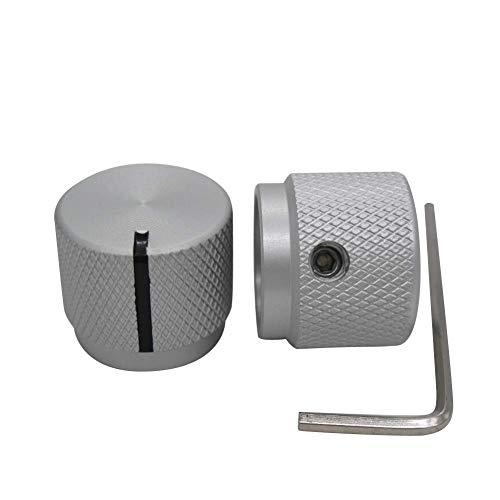 Taiss/2 stücke Silber farbe Aluminium Elektronische Drehregler Potentiometer Knopf Für 6mm Durchmesser Welle, Lautstärkeregler, Audio knopf, Gitarrenknopf, schaltknopf, 20mm durchmesser x 17mm Höhe