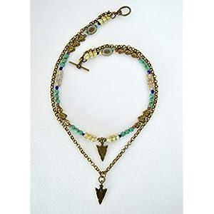 Boho chic türkisfarbene Perlen und Kettenkaskaden-Halskette
