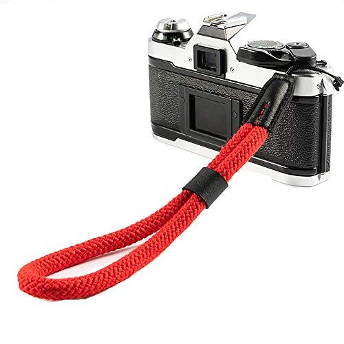 LXH Correa para la muñeca con cámara de algodón, correa para cámara ajustable para Nikon Canon Sony Pentax Minolta Panasonic Olympus (Rojo)