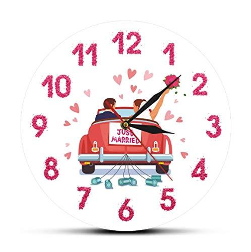 LWXJK RECIÉN Casado Personalizado Sr. Sra. Nombres Reloj de Pared de Boda Reloj de Pared Personalizado Decoración del hogar Regalo de Compromiso de Aniversario para pareja-30X30cm
