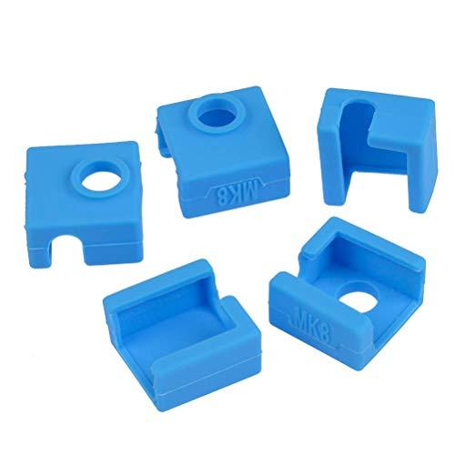 ICQUANZX 5 STÜCKE 3D Drucker Beheizte Block Silikon Abdeckung Creality Zubehör Silikon Socke Wärmeisolierung Fall 280 ℃ Hochtemperaturbeständig für MK7 MK8 MK9 Hotend für Ender 3 CR10 ANET A8 -Blau