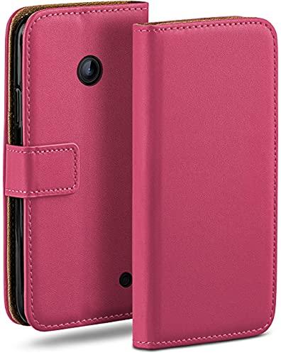 moex Klapphülle kompatibel mit Nokia Lumia 630/635 Hülle klappbar, Handyhülle mit Kartenfach, 360 Grad Flip Hülle, Vegan Leder Handytasche, Pink