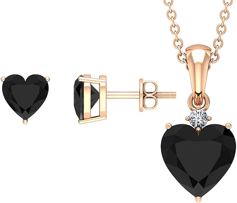 December Birthstone - 3.75 CT Heart Shape Black Onyx Solitaire Jewelry Set with Diamond (AAA Quality),14K Rose Gold,Diamond