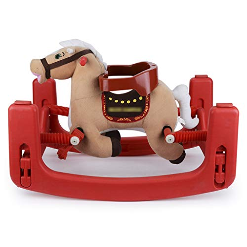 Best Bargain Rocking horse ZJING Children's Wooden Horse Music Plastic Dual-use Spring Horse