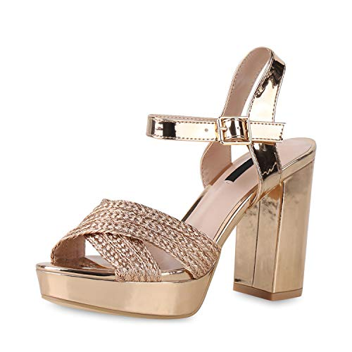 SCARPE VITA Damen Pumps Plateau Sandaletten Party Schuhe Blockabsatz High Heels Metallic Absatzschuhe Abendschuhe 181263 Rose Gold Metallic 36