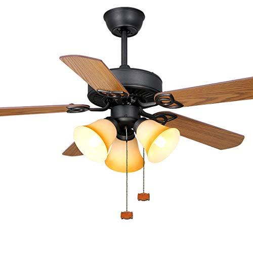 """Deckenventilator mit Beleuchtung Amerikanische Deckenventilator Licht mit 3 Lichtern 5 Klingen Seilzugnotschalter Haushalt Wohnzimmer-Dekoration Ventilator Kronleuchter, 42\"""" Deckenventilator für Wohnz"""