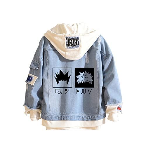 EDMKO Hunter X Hunter - Chaqueta unisex con capucha para hombre, chaqueta vaquera, abrigo, sudadera, capucha, disfraz de cosplay azul claro, azul, 4XL