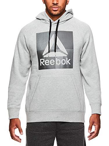 Reebok Men's Performance Pullover Hoodie - Graphic Hooded Activewear Sweatshirt - Grey Air Squat, X-Large