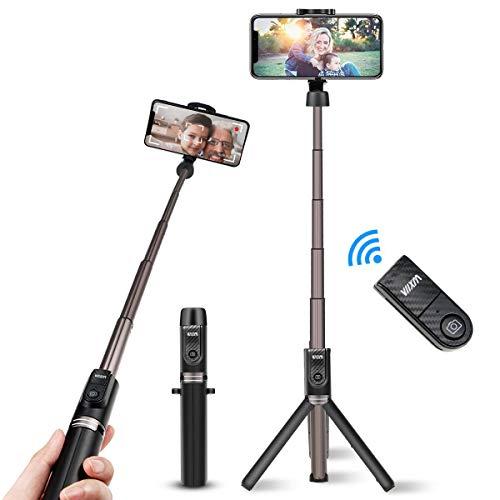 Viixm Perche Selfie Bluetooth, Selfie Stick Trépied Alliage d'Al Support Plus Stable 3-en-1 Bâton Selfie Monopode Extensible Rotation 360° Télécommande sans Fil pour iPhone Samsung Huawei MI Sony etc