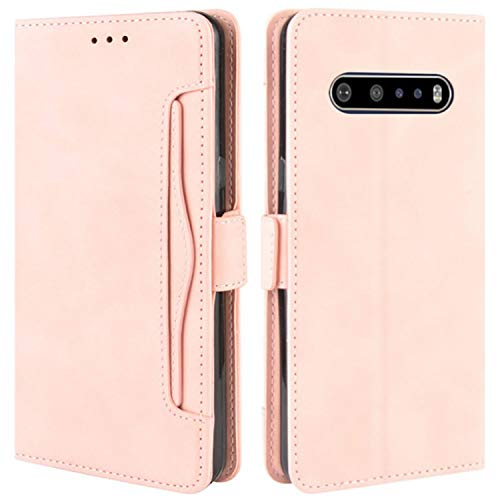 HualuBro Handyhülle für LG V60 ThinQ Hülle Leder, Flip Hülle Cover Stoßfest Klapphülle Handytasche Schutzhülle für LG V60 ThinQ 5G Tasche (Pink)