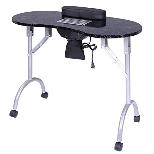 Portable MDF Manicure Table, Spa Beauty Salon Equipment Desk, with Dust Collector & Cushion & Fan White,1