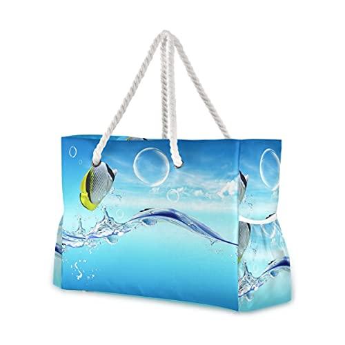 Bolsas de playa grandes Totes Bolsa de lona 3840X2160-Sea_Fish_In_The_Clear_Sea_Fish_Bubble_Di Bolsas resistentes al...