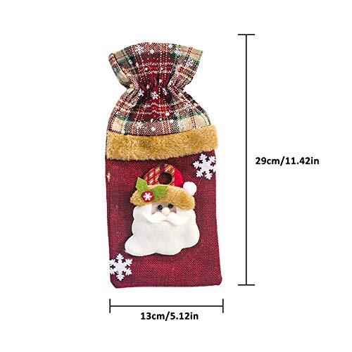 WWLIN Cubierta de Botella de Vino de NavidadSuéter de muñeco de NieveCubierta de Botella dechampán de Vacaciones para Decoraciones de Botellas de Mesa de Comedor de Fiesta de Navidad