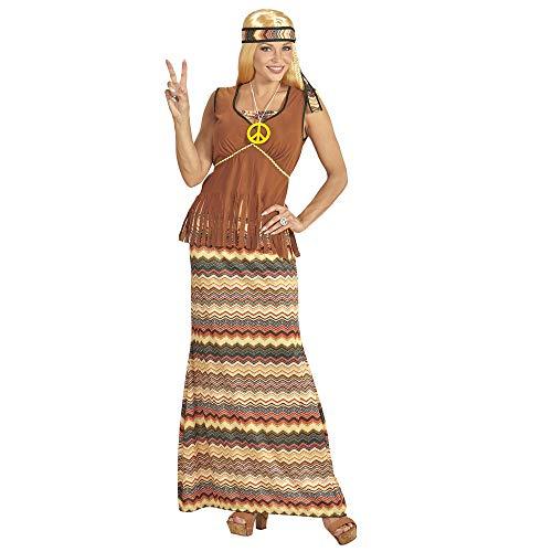 WIDMANN?Disfraz Adulto Hippie para Mujer, Vestido con Chaleco, Falda, Cinta para el Pelo, Cadena con smbolo de la Paz