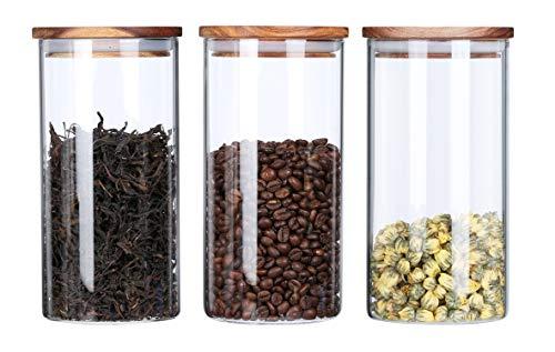 Koffieopslag potten Set, luchtdichte natuurlijke acacia deksels voor keuken borosilicaatglas Containers bus (1150 ML×3)