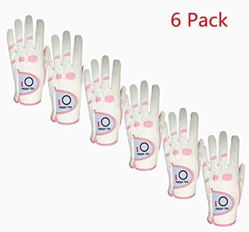 Lot de 6 gants de golf gauche Finger Ten pour femme -...