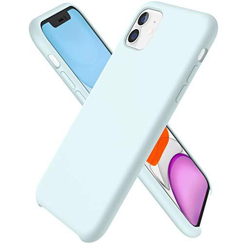 ORNARTO Funda Silicone Case para iPhone 11, Carcasa de Silicona Líquida Suave Antichoque Bumper para iPhone 11 (2019) 6,1 Pulgadas-Espuma de mar