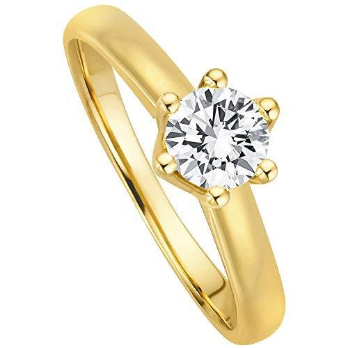 Juwelier Gelber Diamant Ring aus 585 14 Kt Gelbgold mit Filigrane Fassung Brillant Schliff Lupenrein (56 (17.8), 0.30)