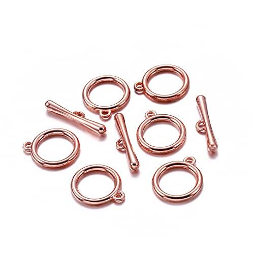 BOSAIYA PJ 10 Sets/Lot Gold/Rose Gold OT Toggle Clasps Conectores para la Pulsera de Bricolaje Collar de joyería para Encontrar Suministros de Accesorios TL807 (Color : Rose Gold)