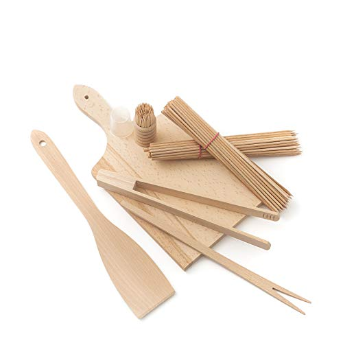 tuuli Kitchen Kit Ustensiles Barbecue BBQ Set Ensemble Bois (Planche à découper, Spatule, Pince à Barbecue, Fourchette, Cure-Dent, Brochette)