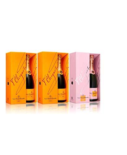 Lot trio champagne Veuve Clicquot brut con estuche X2 y Rosé con estuche