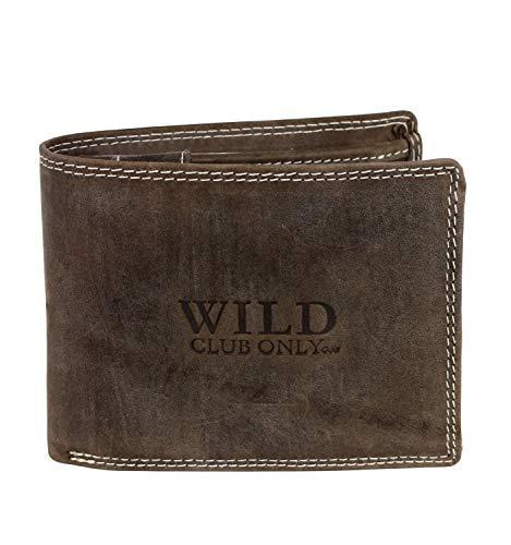 Schompi Trading Herren Bifold Geldbörse mit Print Motiv Wild - Männer Leder-Börse Braun Portemonnaie Echtleder Büffelleder Vollleder