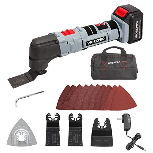 WORKPRO 20V Oscillating Multi-Tool Lithium-Ion Cordless with LED Variable Speed Universal Fit, Blades and Accessories 19-Piece Kit