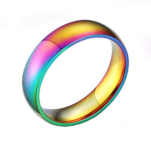 Joielavie Jewellery Ring Rainbow Color Smooth Colorful Stainless Steel Gay Lesbian LGBT Pride Band Finger Ring Gift for Men Women #V 1/2