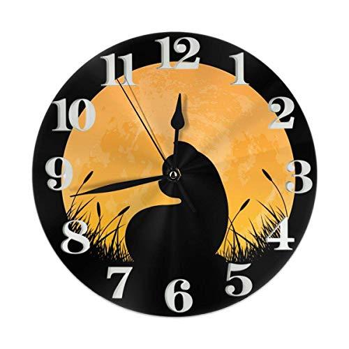 Full Moon Cat - Reloj de pared decorativo de 30,48 cm, funciona con pilas, para estudiantes, oficina, escuela, decoración del hogar, reloj silencioso