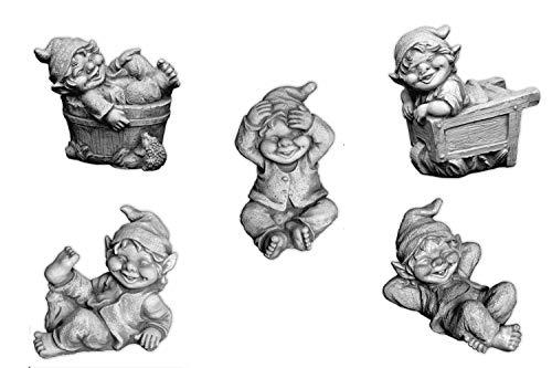 gartendekoparadies.de Stück 5 lustige kleine GNOME Trolle Wichtel aus Steinguss frostfest
