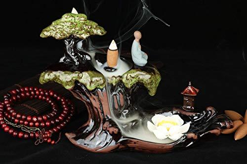 LEAFIS Incense Waterfall Burner Ceramic Handcrafted Mountain Backflow Incense Burner