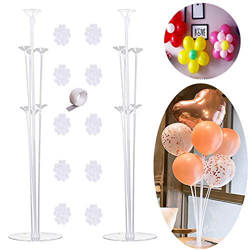 SILBLASSYU Table Balloon Stand Kit - 2 Sets,Reusable Clear Balloon Holder(7 Balloon Sticks,7 Cups,1 Base) with 10 Balloon Clips,1 Roll of Stick Dots for Birthday Party,Wedding,Any Party Decorations