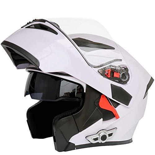 Cascos Integrales Bluetooth para Motocicleta Sistema Comunicación De Intercomunicación Integrado Integrado, Casco Modular Abatible hacia Arriba con Doble Visera Antivaho Motocross,Blanco,XXL