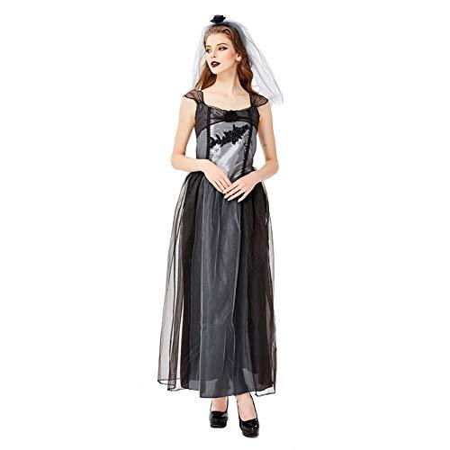FGDJTYYJ Halloween Cosplay, Halloween Schwarz Gaze Ghost Vampire Devil Wear Ghost Kostüm (Schleier + Rock),S