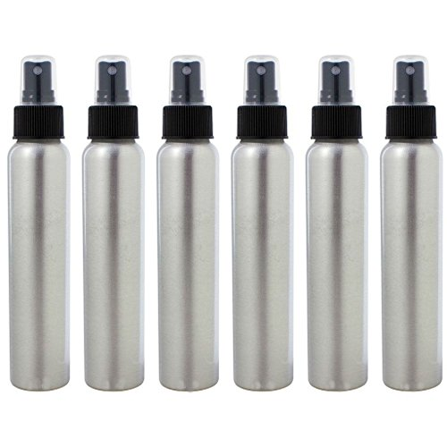 AKOAK 6 Pcs 120ml/4 Oz Aluminum Fine Mist Spray Bottles with Black Pump Spray Cap,Great for Cleaning, Travel, Perfume