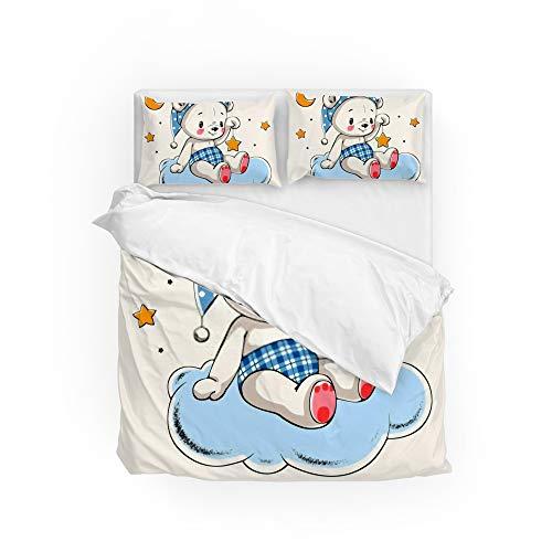 HAOXIANG Juego de funda de edredón de 3 piezas con diseño de oso suave y resistente a las arrugas y 2 fundas de almohada para cama individual