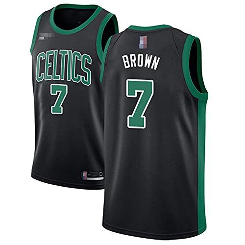 YZQ Jerseys De Baloncesto De Los Hombres, NBA Boston Celtics # 7 Jaylen Brown - Chaleco Transpirable Suelto Uniformes Classic Comfort Camiseta Sin Mangas Tops,Negro,L(175~180CM)