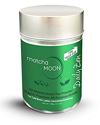Matcha Moon Organic Japanese Green Tea Powder - Premium Cafe Grade (Lattes, Cold Brew, Smoothies, Baking) - Clean, Plant-based, All-natural Energy - Artisan Grown in Uji, Kyoto Japan - 100g Tin