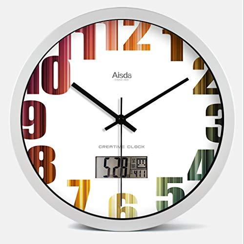 DIEFMJ Relojes Calendario de Pared Relojes de Pared, Reloj de Pared de Moda de 14 Pulgadas, decoración de Arte, Sala de Estar, Dormitorio, termómetro, Reloj de Pared silencioso, Estilo multise