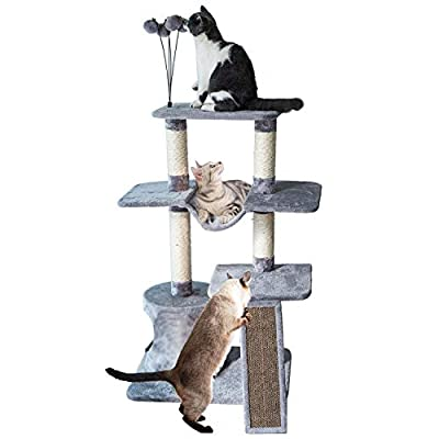 Catry Four-Level Cat Tree Condo Gray with Natur...