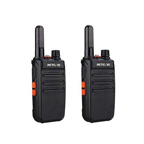 Retevis RB635 Walkie Talkie con Linterna, PMR446 2 Way Radio Licencia Libre, VOX, Largo Alcance Walkies, Alarma de Emergencia, Walkie-Talkies Recargable para Paseo Familiar, Camping (Negro, 2 Piezas)