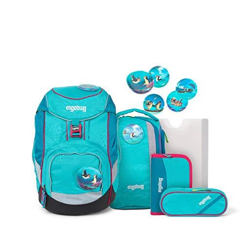 Ergobag Pack Hula HoopBär, ergonomischer Schulrucksack, Set 6-teilig, 20 Liter, 1.100 g, Hawaii Türkis
