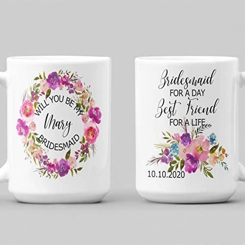 Tamengi Taza de dama de honor para un día mejor amigo para una vida, taza de dama de honor para mejor amigo, ideas de favor de boda tazas personalizadas, taza de cerámica de dama de honor