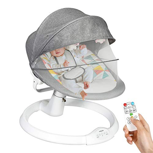 COSTWAY Electric Baby Bouncer Chair with Remote Control, Removable Mosquito Net, 5 Swing Amplitudes & 3-Stage Timing Function, Bluetooth USB Music Rocking Bed for Newborn Infant (Grey)