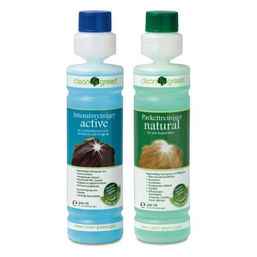 clean & green Set Intensivreiniger active und Parkettreiniger natural