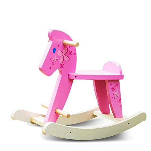 LALAWO Children's leisure chair Children's Rocking Horse Simple Wooden Horse Solid Wood Rocking Chair Small Wooden Horse Rocking Horse Baby Toy
