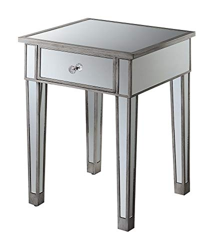 Convenience Concepts Gold Coast Mirrored End Table with Drawer, Antique Silver / Mirror
