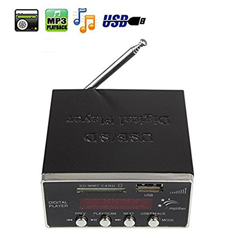 SallyBest Digital Car Motorcycle Power Audio Amplifier FM Radio AUX Input MMC SD USB MP3 Player Reader 4-Electronic Keypad with Remote Control